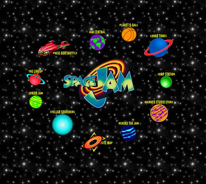 Website for Space Jam the movie in 1996
