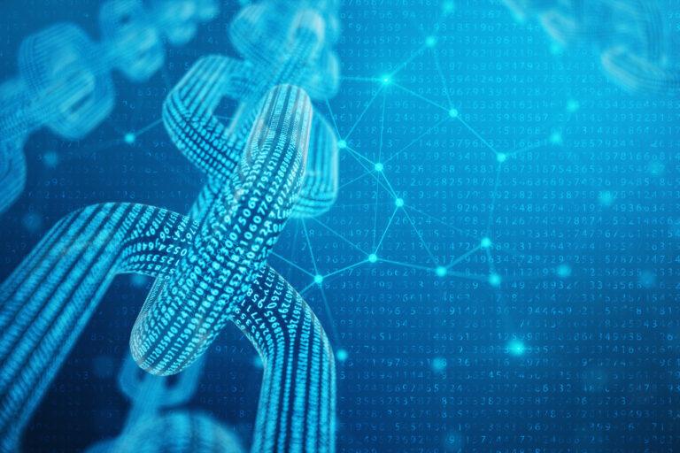 3D illustration digital block chain code