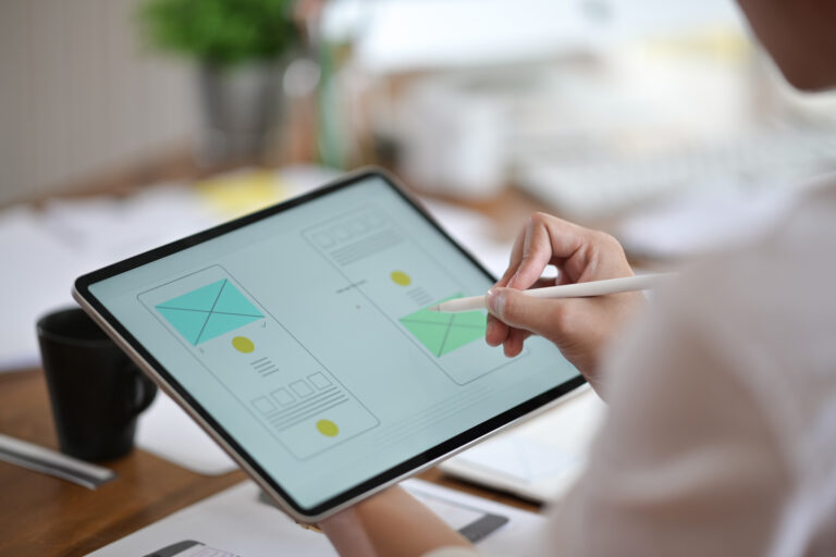 Designer using tablet