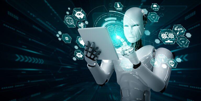 Robot humanoid using tablet computer