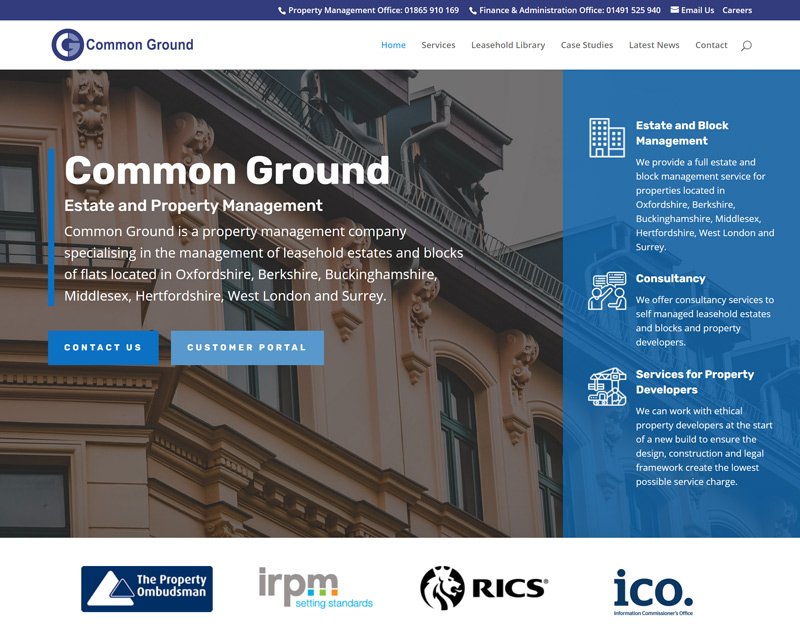 A screenshot of the Common Ground website designed by Vertanet.