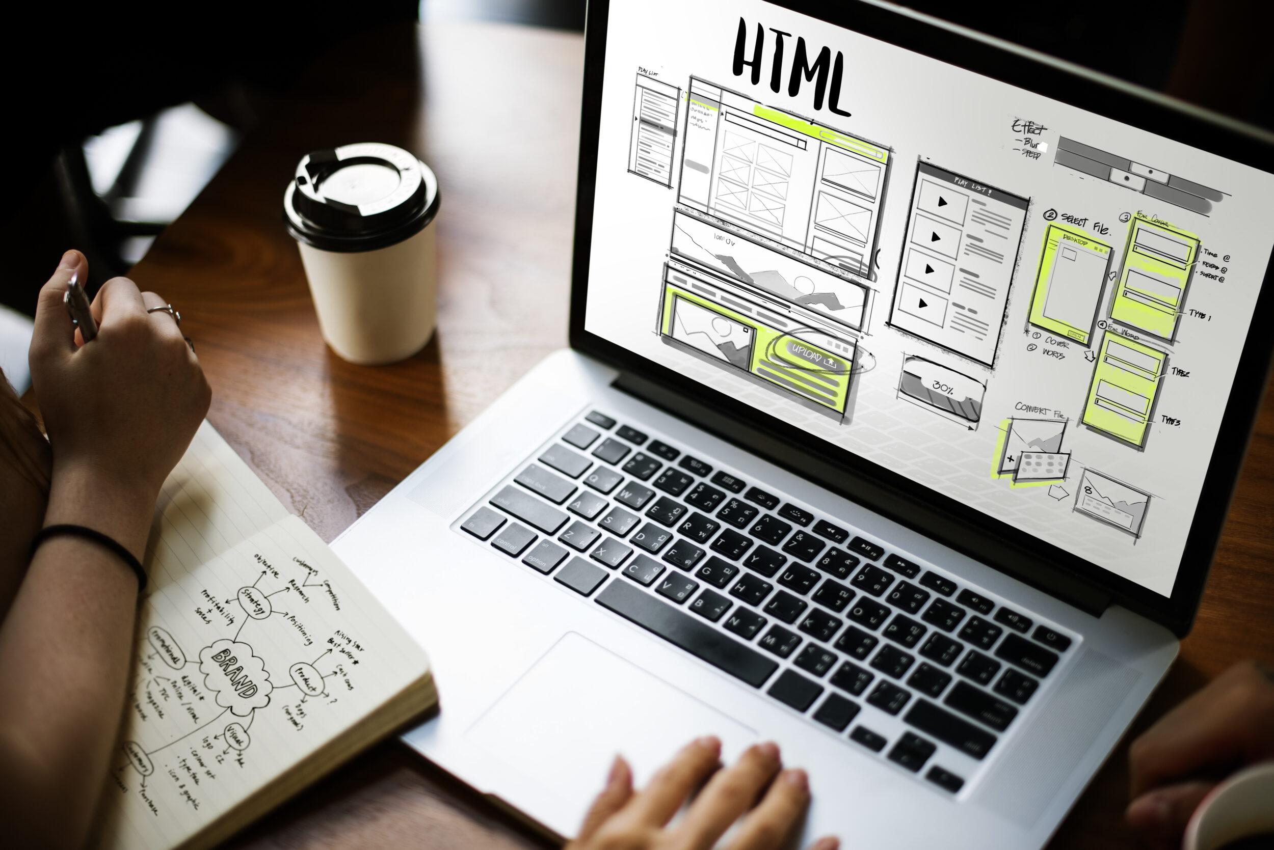 Online web design on laptop