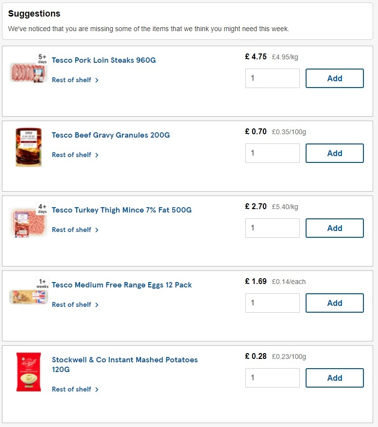 Tesco suggested items before checkout